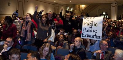 IGNORED: More than 300 people spoke against school closings at a Jan. 26 meeting of the Panel for Education Policy (PEP). After hearing nine hours of public comments, the PEP voted 9-4 to close 19 schools. PHOTO: ANDREW HINDERAKER