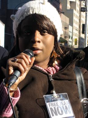 Jani Montrevil speaks to supporters. PHOTO: Renée Feltz