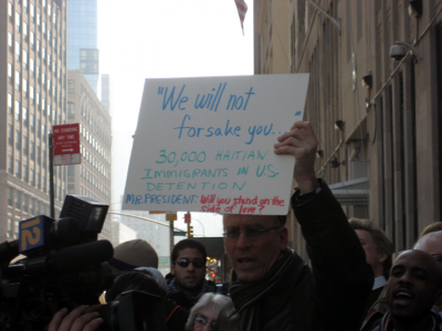Supporter during Wednesday's vigil. PHOTO: Renée Feltz
