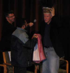 James Cameron receives several gifts from indigenous communities after Avatar was screened to some 400 delegates of the U. N. Permanent Forum on Indigenous Issues at the New York Directors Guild Theatre in Midtown Manhattan April 24.