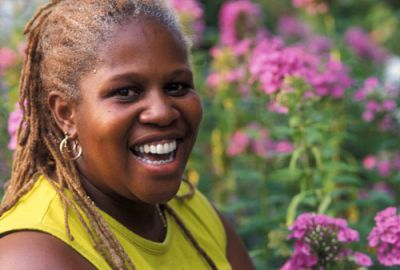 ROOTED: Karen Washington is president of the New York City Community Garden Coalition and lead organizer of the Black Farmers and Urban Gardeners Conference that will be held in November. Conference supporters hope to encourage more young people of color to get involved in urban farming. PHOTO: NEW YORK BOTANICAL GARDEN