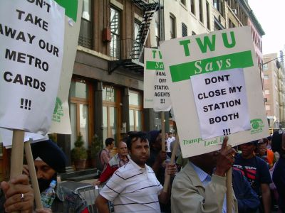 Transit workers picketed outside of MTA Chairman Jay Walder's apartment on Thursday afternoon. PHOTO: STEVE WISHNIA.