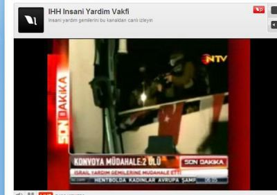 PHOTO:  A screen shot shows Israeli soldiers attacking a Turkish humanitarian boat.