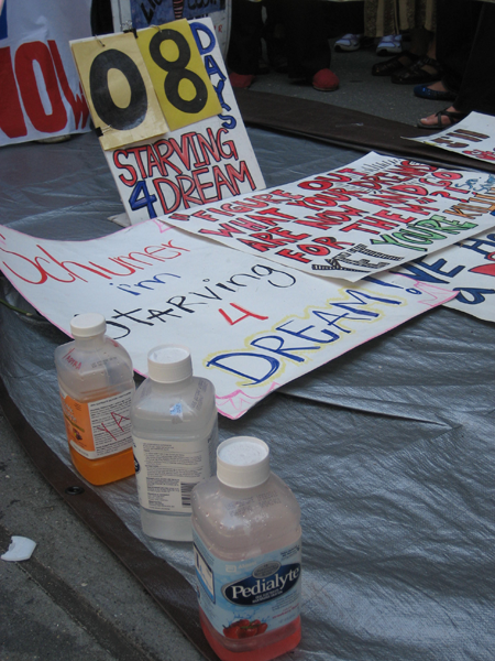 Hunger strikers marked bottles of hydrating drinks with their initials. Photo: Renée Feltz