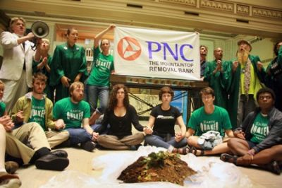 Rev. Bill Talen and the of Life After Shopping Gospel Choir occupied PNC bank to protest their involvement in mountaintop removal mining.