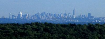The Manhattan skyline as seen from Nordkop Mountain in Rockland County, 30 miles north. CREDIT: WIKIPEDIA