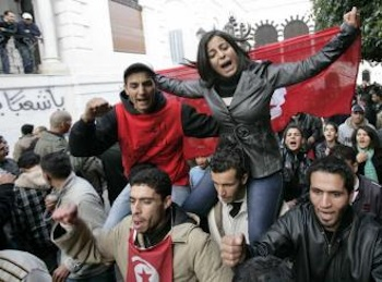 Tunisians continue to protest the interim government that followed the fall of the dictator Ben Ali . PHOTO: Nasser Nouri/Socialist Worker