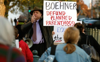 Randall Terry and other anti-abortion activists demonstrate on Capitol Hill.  PHOTO: Getty Images/Chip Somodevilla