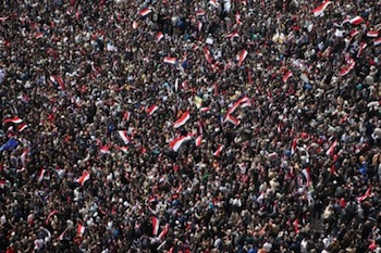 Egyptians protest at Tahrir Square on the day Mubarak left office on Feb. 11. PHOTO: Matthew Cassel