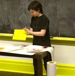 Ten-year-old Quinn Accardi will be teaching a class on cartooning at Trade School's Coincidence of Wants event at the Whitney Museum. CREDIT: Trade School
