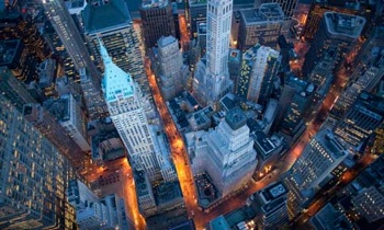 An aerial view of Wall Street, the heart of the global financial meltdown. Photo: Cameron Davidson