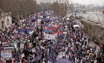 MARCH AGAINST AUSTERITY: More than 500,000 demonstrated in London against spending cuts. PHOTO: London Indymedia