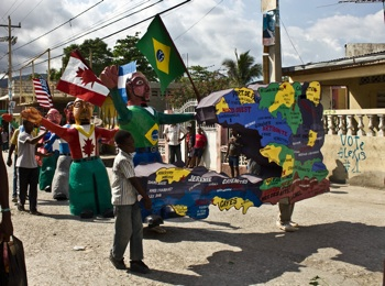 A Carnival float in the Southern town of Jacmel calls attention to U.N. forces that have been occupying Haiti for nearly seven years. PHOTO: Isabeau Doucet
