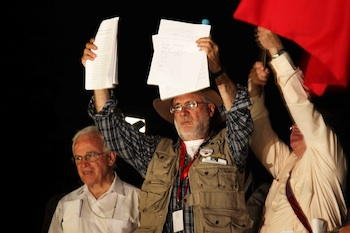 Poet and anti-drug war leader Javier Sicilia, shortly after signing the pact in Ciudad Juarez on June 10.