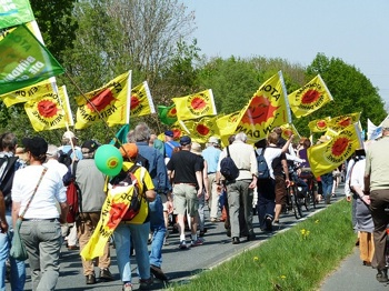 More than 100,000 people protested nuclear energy in over 20 cities across Germany last month. PHOTO: Prachatai