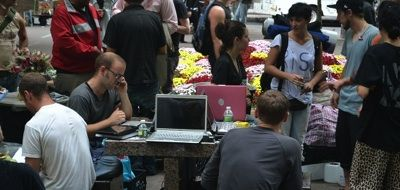 The media team working at Liberty Plaza. (Photo: Wagingnonviolence.org)