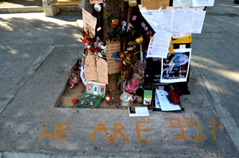 A tree trunk in Athens' Syntagma Square graced by the Occupy movement's motto. (Photo: WagingNonViolence.org)