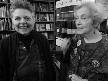 Joyce Ravitz and Frances Goldin led the local campaign for rent reduction from Cooper Union to allow St Marks Bookstore to remain a vital independent bookshop and cultural member of the Lower East Side community. (Photo: Shell Sheddy)