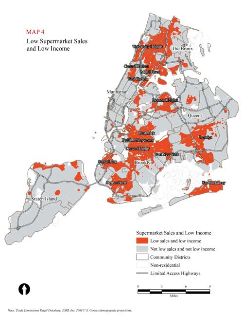 Map reprinted with permission from the report, The Need for More Supermarkets in New York