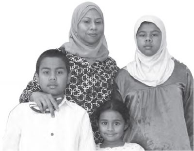 MUSLIM IN AMERICA: Long Island resident Shareena Rahat poses with her children. She says that facing discrimination is an everyday reality. PHOTO: ARAMICA NEWSPAPER
