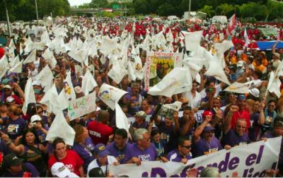 A STRIKING ISLAND: More than 200,000 Puerto Ricans joined a general strike Oct. 15. PHOTO: SEIU INTERNATIONAL, FLICKR.COM