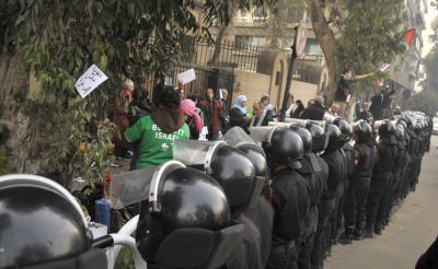 French GFM delegates outside their Cairo embassy