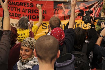 Delegates from South Africa's COSATU received a salute