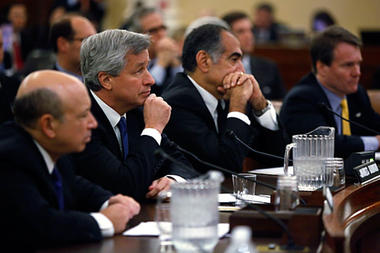 From left to right, Goldman Sachs chief executive Lloyd Blankfein, JPMorgan Chase Chief Executive Jamie Dimon, Morgan Stanley Chairman John Mack and Bank of America chief executive Brian Moynihan face questioning on the first day of Financial Crisis Inquiry Commission hearings in Washington, D.C., Jan. 13.  PHOTO CREDIT: Jason Reed/Reuters