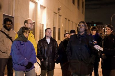 City councilmember Letitia James talks to activists and reporters about the importance of keeping the Pacific-Dean homeless shelter open. PHOTO CREDIT: Tracy Collins