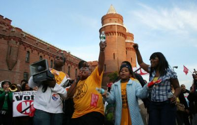 WHOSE ARMORY? Northwest Bronx residents rally outside the Kingsbridge Armory in October. PHOTO: CHARLES FOSTROM/RWDSU