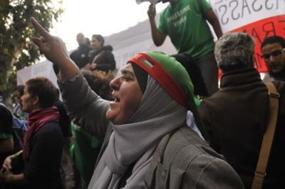 Participants in the December 2009 Gaza Freedom March protest in Cairo, Egypt, for the right to enter the Gaza Strip. PHOTO: ELLEN DAVIDSON