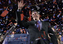 Massachusetts state Senator Scott Brown, a Republican, celebrates his victory Tuesday night over Democrat Martha Coakley after winning a special election to fill a U.S. Senate seat. PHOTO CREDIT: Elise Amendola/Associated Press