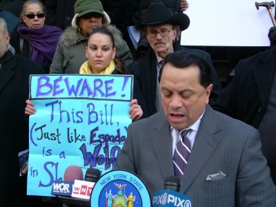 State Senator Pedro Espada announces Feb. 17 a new law that would allegedly protect some tenants from paying higher rents.