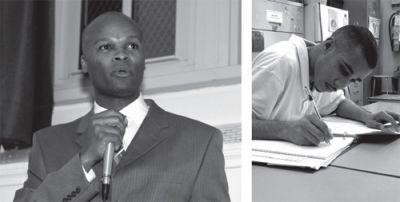 SPEAKING OUT: Jeffrey Smalls (left), president and CEO of Smalls Electrical Construction, speaks at the Feb. 12 hearing held at Alfred E. Smith High School in the South Bronx. Smalls has hired many Smith graduates and has been an advocate for keeping the school open. PHOTO: AMELIA H. KRALES. LEARNING A TRADE: George Tarres (right), a senior in the pre-engineering program at Smith, works on an assignment for class. PHOTO: ASHLEY MARINACCIO