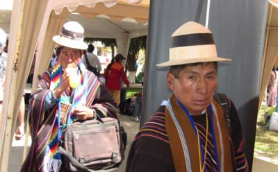 Bolivians arrive for the climate summit. PHOTO: KARAH WOODWARD