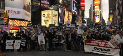 Activists in Times Square May 27. Photo by Ellen Davidson