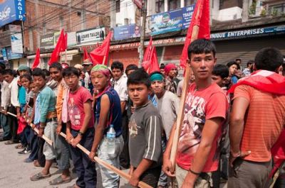 HOLDING THE LINE: Rows of demonstrators create pedestrian blockades along Kathmandu's streets
