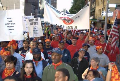 STANDING UP FOR TRANSIT: Members of the Transport Workers Union Local 100 and their allies rallied at New York's Penn Station on May 4 to denounce layoffs and service cuts and to support equitable funding for public transit. PHOTO: TWU Local 100