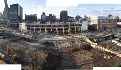 HOLE IN THE GROUND: The future home of the New Jersey Nets basketball team as seen from Daniel Goldstein's roof.