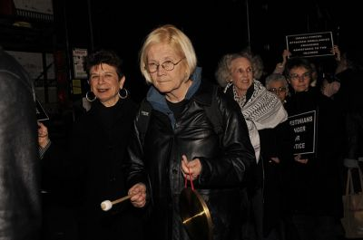Ann Wright at March 9 protest against fundraiser for the Israeli  Defense Force. Photo by Ellen Davidson