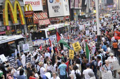 Marchers filled Times Square. Photo by Ellen Davidson
