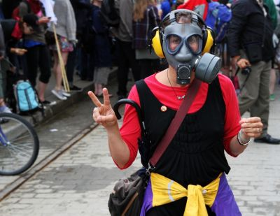 A protester at the G-20 conference in Toronto wears a gas mask. PHOTO: CHRIS MATTHEWS