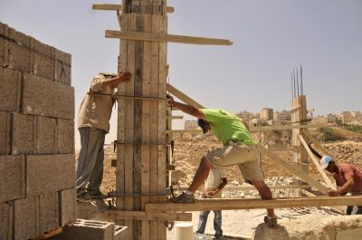 Building the forms for the pillars to hold up the roof. PHOTO:   ELLEN DAVIDSON
