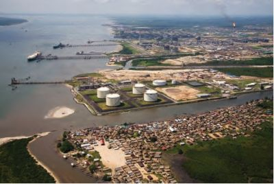 The Bonny Island liquefied natural gas terminal — the largest of its kind in the delta — is owned by a consortium composed of Shell, ExxonMobil, Total of France and Agip of Italy. Displaced to make room for this facility, the village of Finima lies across the lagoon but none of the inhabitants work in the plant.