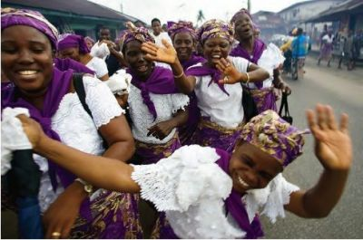 Women of Honour, members of the Good Shepherd Anglican Church in Warri, march through the town, urging the embattled community to put violence aside and seek peace and prosperity.