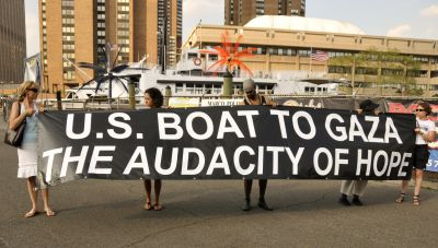 Activists prepare to board a fundraising boat ride in New York Harbor August 5. PHOTO: ELLEN DAVIDSON
