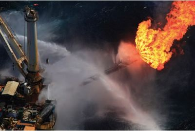 Fifty miles off the coast of Louisiana, a rig above the Macondo well, which is the site where the Deepwater Horizon exploded April 20, flares methane gas. PHOTO: ERIKA BLUMENFELD