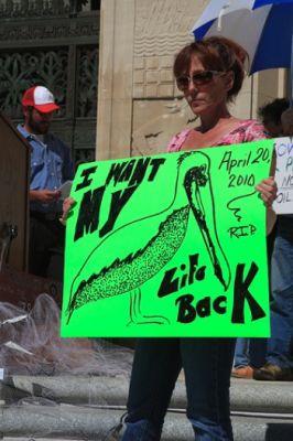 Karen Hopkins, a Louisiana seafood worker, is calling for Feinberg to resign. PHOTO: Erika Blumenfeld