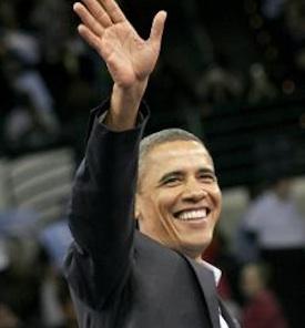 President Obama greets his cheering supporters PHOTO: Dana Beveridge