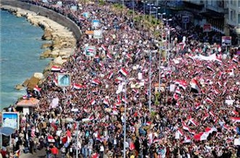 Hundreds of thousands of protesters gathered in the port city of Alexandria. PHOTO: AFP